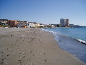 View of Torreguadiaro Beach looking toward the apartments.